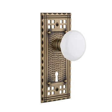Nostalgic Warehouse Craftsman Plate Interior Mortise Door Set With White Porcelain Knobs
