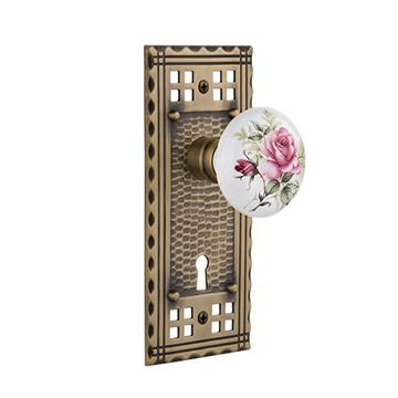 Nostalgic Warehouse Craftsman Plate Interior Mortise Door Set With White Rose Porcelain Knobs