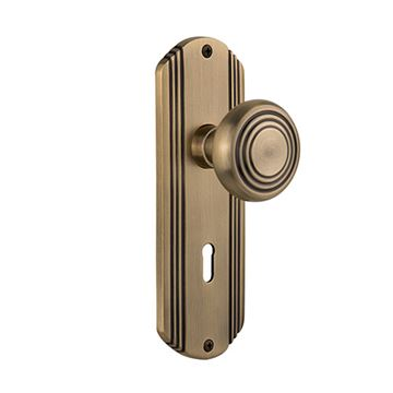 Nostalgic Warehouse Deco Interior Mortise Door Set - Deco Knobs