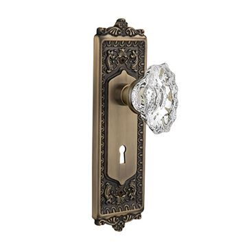 Nostalgic Warehouse Egg & Dart Plate Interior Mortise Door Set With Chateau Knobs