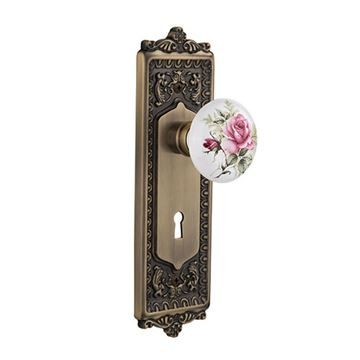 Nostalgic Warehouse Egg & Dart Interior Mortise Door Set - White Rose Porcelain