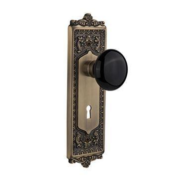 Nostalgic Warehouse Egg & Dart Plate With Keyhole Door Set With Black Porcelain Knobs