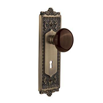 Nostalgic Warehouse Egg & Dart Plate With Keyhole Door Set With Brown Porcelain Knobs