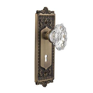 Nostalgic Warehouse Egg & Dart Keyhole Door Set With Chateau Knobs