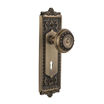 Nostalgic Warehouse Egg & Dart Keyhole Door Set With Meadows Knobs