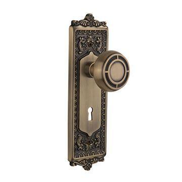Nostalgic Warehouse Egg & Dart Keyhole Door Set With Mission Knobs
