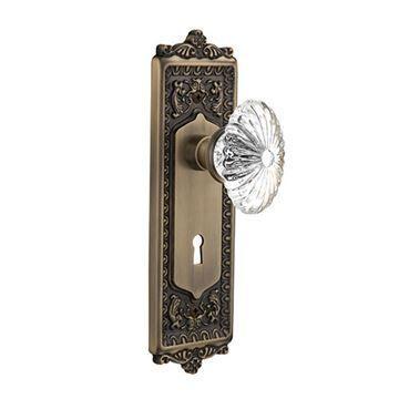Nostalgic Warehouse Egg & Dart Keyhole Door Set - Oval Flute Crystal