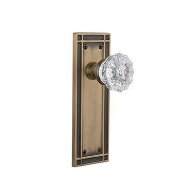 Nostalgic Warehouse Mission Plate Door Set with Crystal Glass Knobs