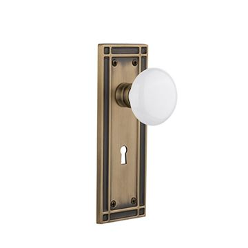 Nostalgic Warehouse Mission Interior Mortise Door Set - White Porcelain