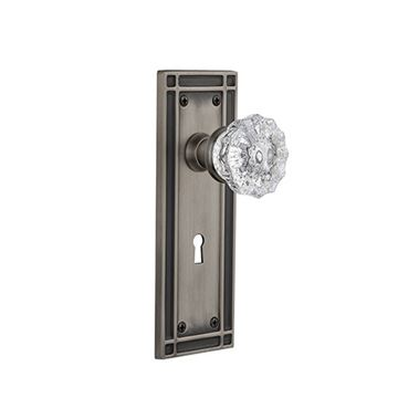 Nostalgic Warehouse Mission Keyhole Door Set With Crystal Glass Knobs