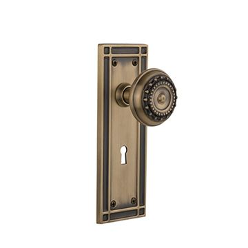Nostalgic Warehouse Mission Keyhole Door Set With Meadows Knobs