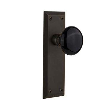Nostalgic Warehouse New York Black Porcelain Knob Interior Door Set