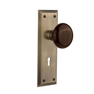 Nostalgic Warehouse New York Keyhole Door Set - Brown Porcelain