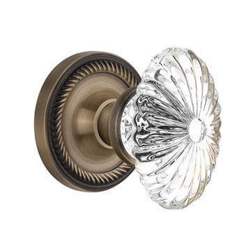 Nostalgic Warehouse Rope Rosette Door Set With Oval Fluted Crystal Glass Knobs