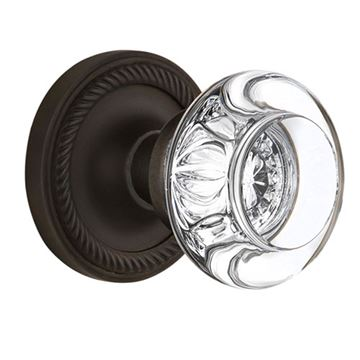 Nostalgic Warehouse Rope Rosette Door Set With Round Clear Crystal Glass Knobs