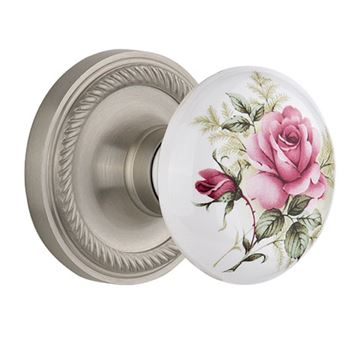 Nostalgic Warehouse Rope Rosette Door Set With White Rose Porcelain Knobs