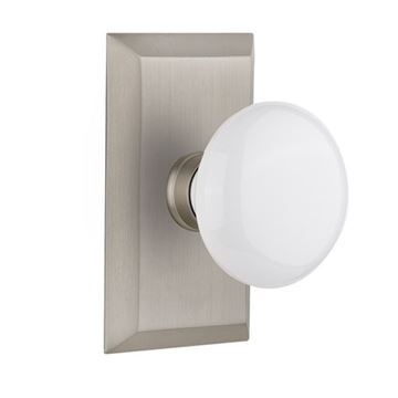 Nostalgic Warehouse Studio Plate Door Set With White Porcelain Knobs