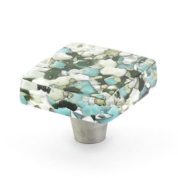 Schaub Ice Blue Pebble Square Cabinet Knob