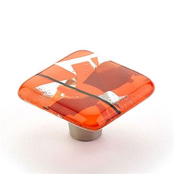 Schaub Ice Orange Confetti Square Cabinet Knob