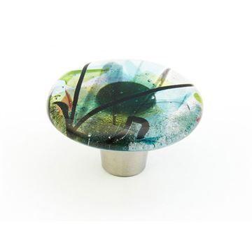 Schaub Ice Turquoise Confetti Round Cabinet Knob