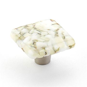 Schaub Ice White Lace Pebble Square Cabinet Knob