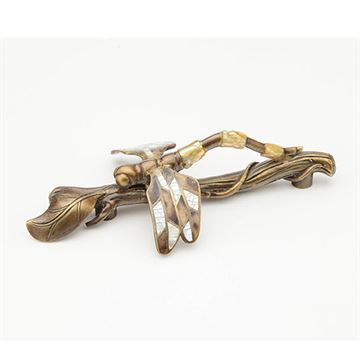 Schaub Symphony Mother of Pearl Dragonfly on Twig Pull