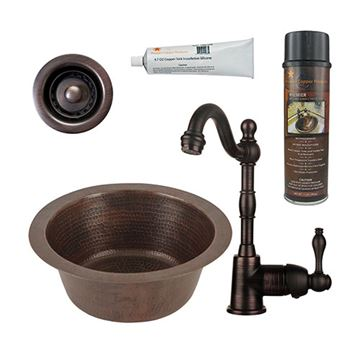 Premier Copper  BSP4_BR12DB2-B 12 Inch Round Hammered Copper Bar Prep Sink & Faucet Package