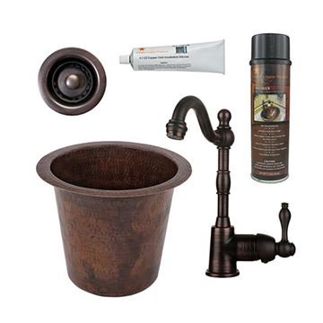 Premier Copper 12 Inch Round Hammered Copper Champagne Bar Prep Sink & Faucet Package