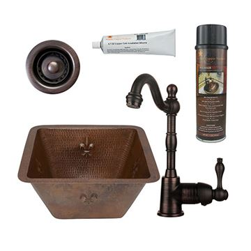 Premier Copper  BSP4_BR15FDB2-B 15 Inch Square Fleur De Lis Copper Bar Prep Sink & Faucet Package