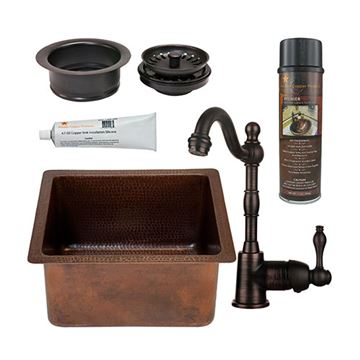 Premier CopperBSP4_BREC 16 DB-D 16 Inch Gourmet Rectangular Hammered Copper Bar Prep Sink & Faucet Package