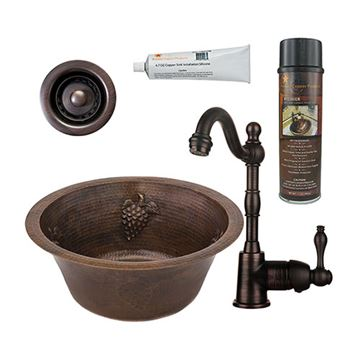 Premier Copper 16 Inch Round Copper Bar Prep Sink With Grapes & Faucet Package