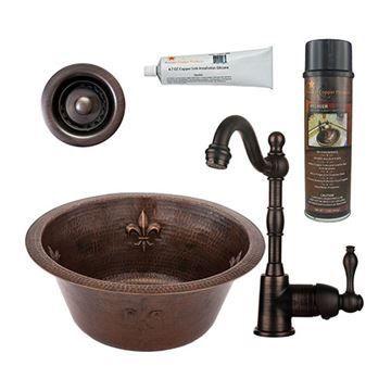 Premier Copper 16 Inch Round Copper Fleur De Lis Bar Prep Sink & Faucet Package