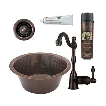 Premier Copper 16 Inch Round Hammered Copper Bar Prep Sink & Faucet Package