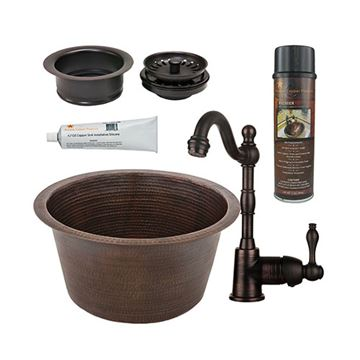 Premier Copper 17 Inch Large Round Hammered Copper Bar Prep Sink & Faucet Package