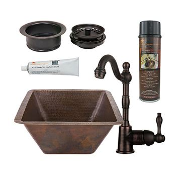 Premier Copper 17 Inch Large Square Hammered Copper Bar Prep Sink & Faucet Package