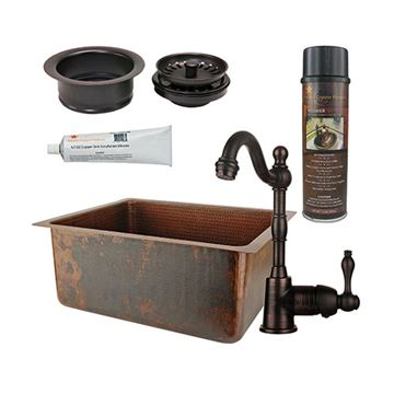 Premier Copper 20 Inch Hammered Copper Kitchen Bar Prep Single Basin Sink & Faucet Package