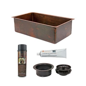 Premier Copper 30 Inch Copper Kitchen Single Bowl Sink & Accessory Package