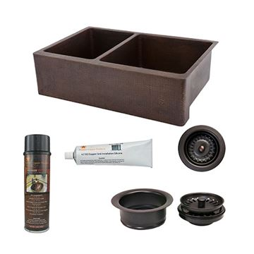 Premier Copper KSP3_KA25DB33229 33 Inch 25/75 Copper Kitchen Double Bowl Apron Sink & Accessory Package