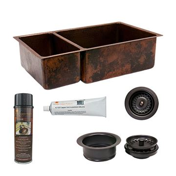 Premier Copper KSP3_K25DB33199  33 Inch 25/75 Copper Kitchen Double Bowl Sink & Accessory Package