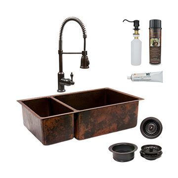 Premier Copper  KSP4_K25DB33199 33 Inch 25/75 Copper Kitchen Double Bowl Sink & Faucet Package
