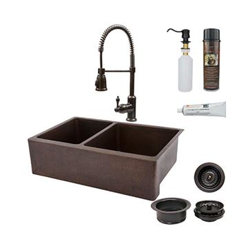 Premier Copper KSP4_KA40DB33229 33 Inch 40/60 Copper Kitchen Double Bowl Apron Sink & Faucet Package