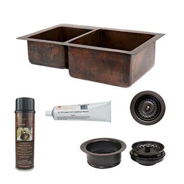 Premier Copper KSP3_K40DB33229 33 Inch 40/60 Copper Kitchen Double Bowl Sink & Accessory Package