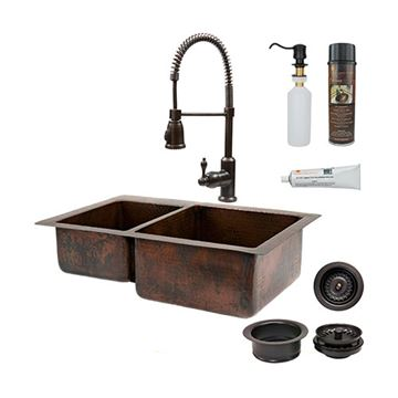 Premier Copper KSP4_K40DB33229 33 Inch 40/60 Copper Kitchen Double Bowl Sink & Faucet Package