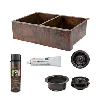 Premier Copper KSP3_KA50DB33229 33 Inch 50/50 Copper Kitchen Double Bowl Apron Sink & Accessory Package