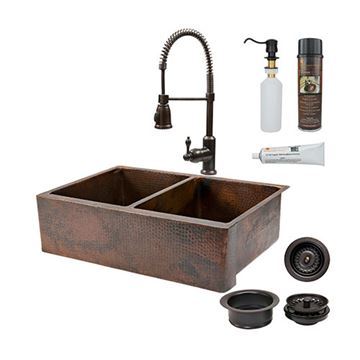 Premier Copper KSP4_KA50DB33229 33 Inch 50/50 Copper Kitchen Double Bowl Apron Sink & Faucet Package
