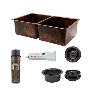 Premier Copper KSP3_K50DB33199 33 Inch 50/50 Copper Kitchen Double Bowl Sink & Accessory Package