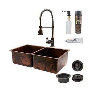 Premier Copper 33 Inch 50/50 Copper Kitchen Double Bowl Sink & Faucet Package