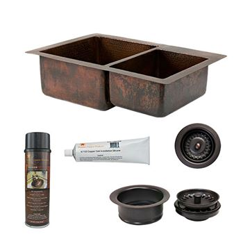 Premier Copper KSP3_K60DB33229 33 Inch 60/40 Copper Kitchen Double Bowl Sink & Accessory Package