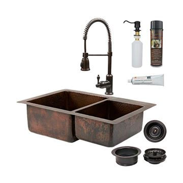 Premier Copper KSP4_K60DB3322 33 Inch 60/40 Copper Kitchen Double Bowl Sink & Faucet Package