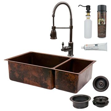 Premier Copper 33 Inch 75/25 Copper Kitchen Double Bowl Sink & Faucet Package